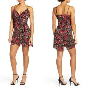 Row A Floral Jeweled Buckle Ruched Mini Dress